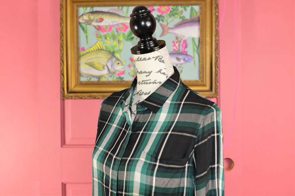 WHISTLES Women's Green & Black Tartan Check Long Sleeve Blouse, Size 10. Pre-loved.