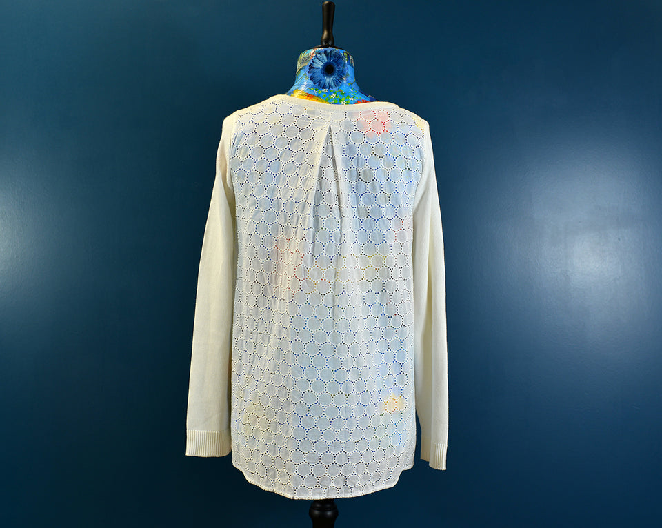 Tommy Hilfiger Cream Long Sleeve Knitted Top Cotton, Size L. New with tags.