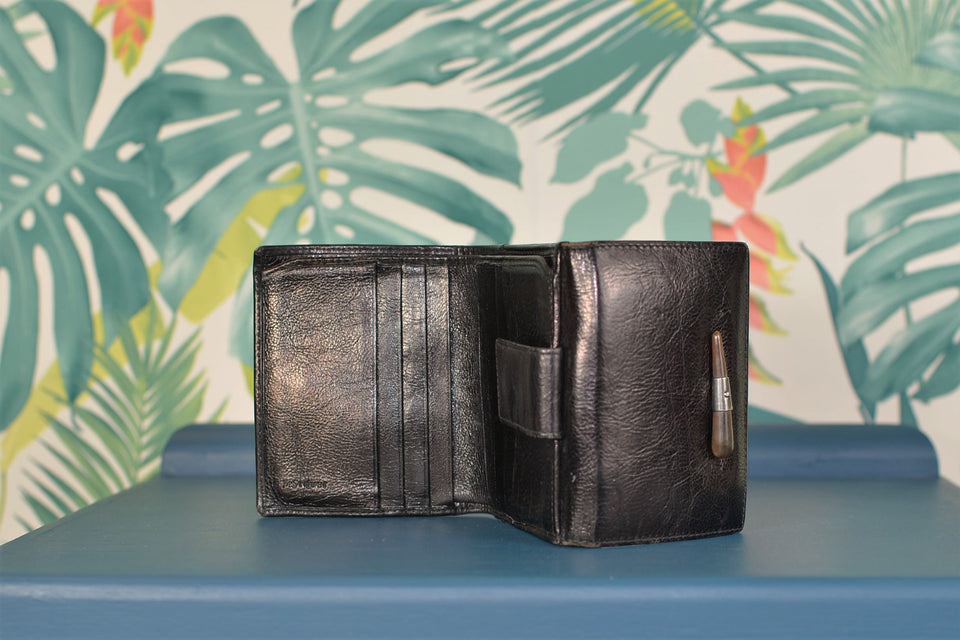 YVES SAINT LAURENT Black Leather Wallet with Bone Detail. Vintage.