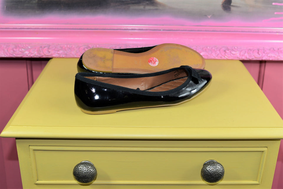 ZARA Black Patent Ballerinas, Size 38. Pre-loved.