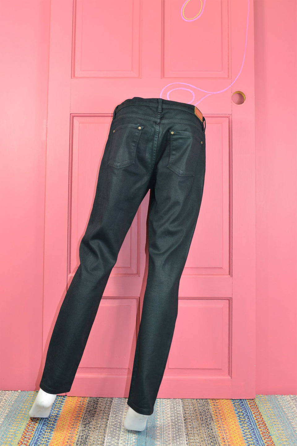 ZARA Women's Slim Fit 'Oilcloth' Effect Jeans, Size 42 (12/14). Pre-loved.