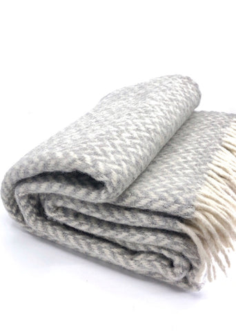 Pure Wool Blanket - Light Grey