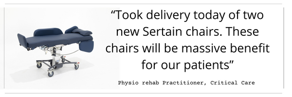 """""""Took delivery  today of two  new Sertain  chairs. These  chairs will  be massive  benefit for  our patients"""""""