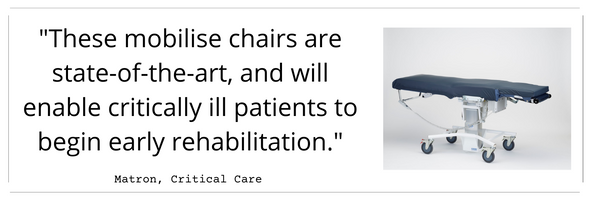 """""""These mobilise chairs are state-of-theart, and will enable critically ill patients to begin early rehabilitation."""""""
