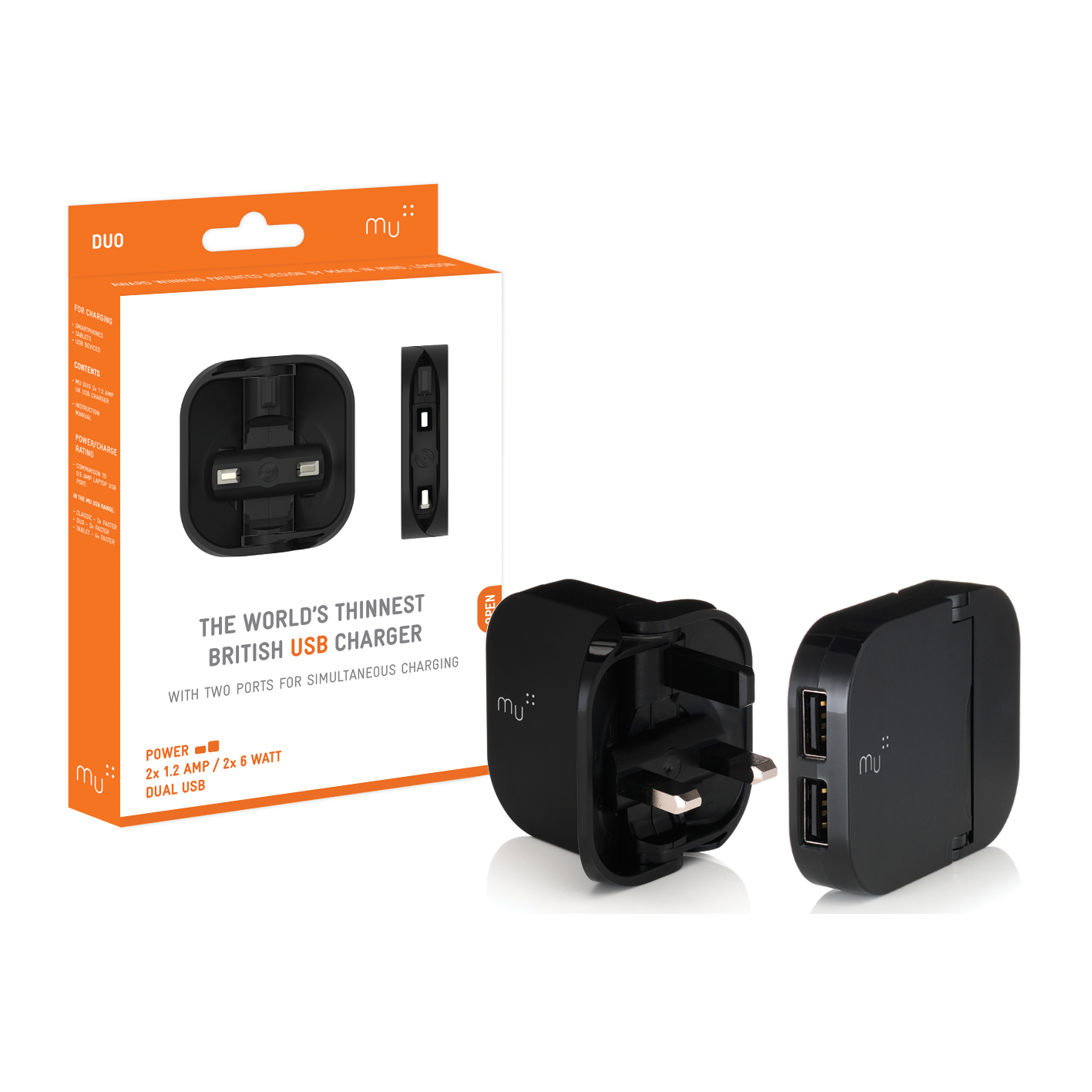The Folding Plug Mu Wiring Uk To Us Duo Product And Packaging Usb Charger In Black
