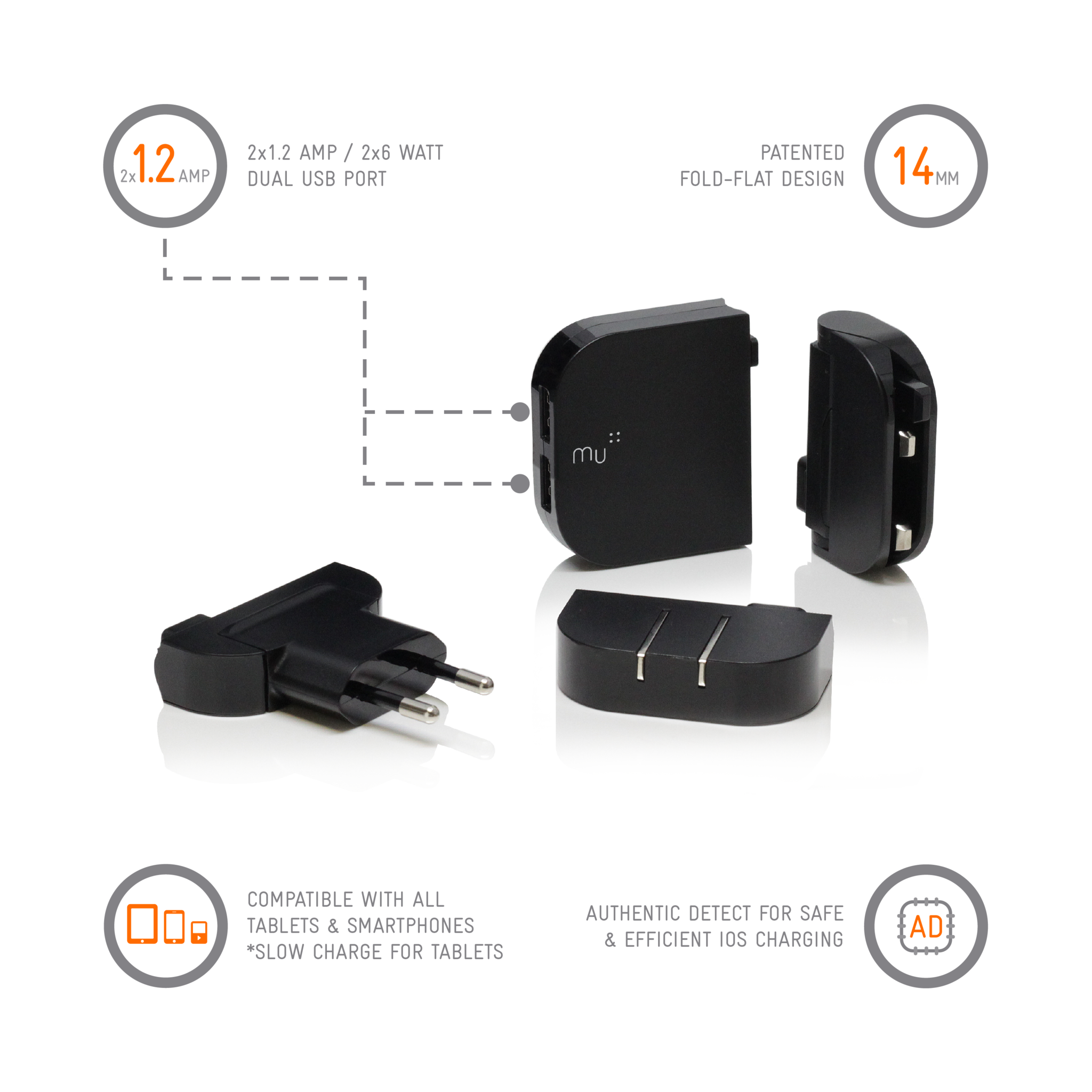 The Folding Plug Mu Wiring Uk To Us Usb Charger Worldwide Traveller Duo Products In Black