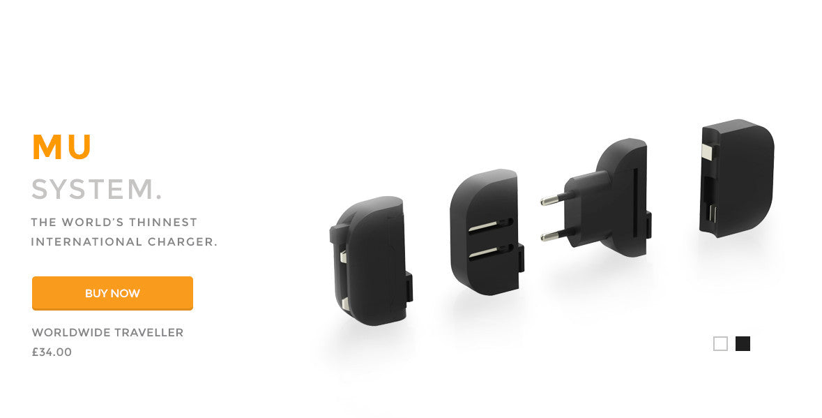 Mu System - The world's thinnest international folding USB charger.