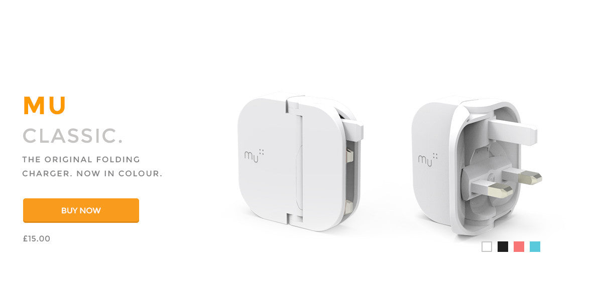 Mu Classic - The original folding plug USB smartphone charger. Now in colour.