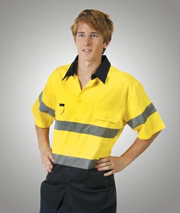 Blue Whale-C92-Light Wt Hi Vis Drill Shirt D/N S/S