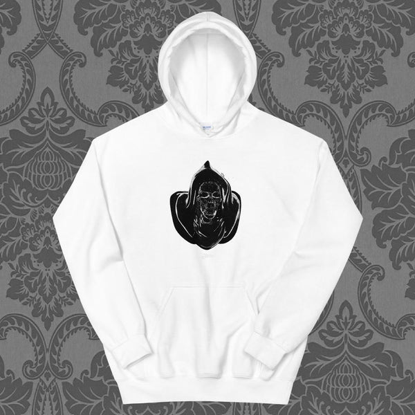 New Retro Wave Grim Reaper White Unisex Hoodie