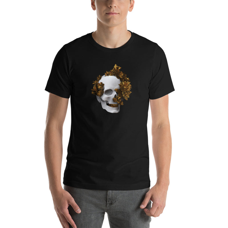 White And Gold Skull Unisex T-Shirt
