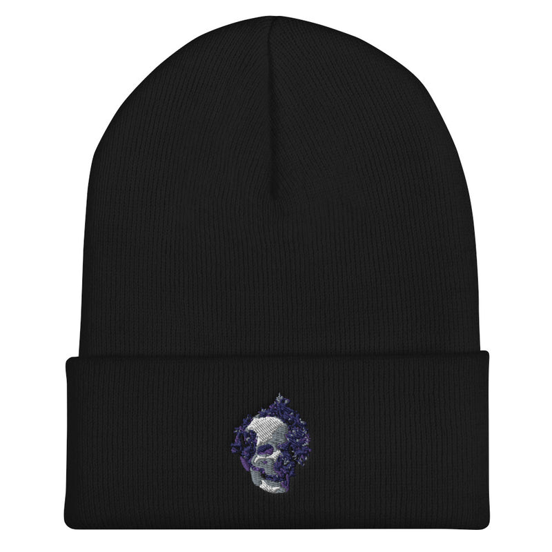 White And Gold Skull Cuffed Beanie