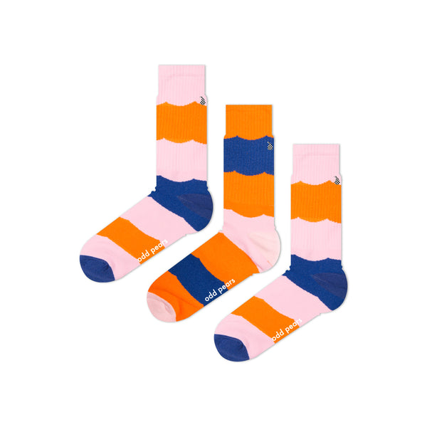 athletic pink blue and orange socks
