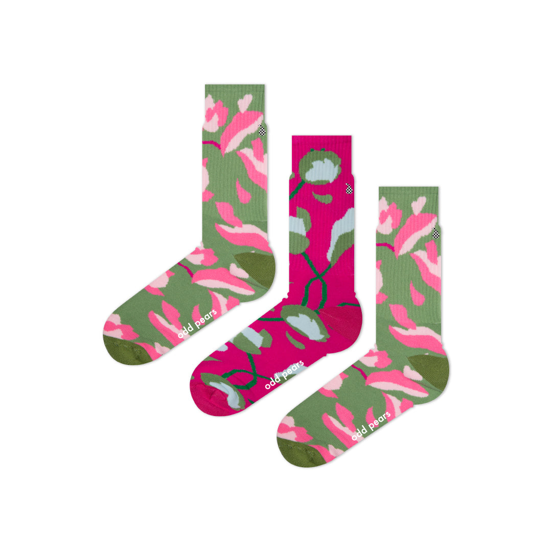 green and pink socks