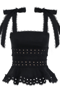 Hayley Peplum Top - Black