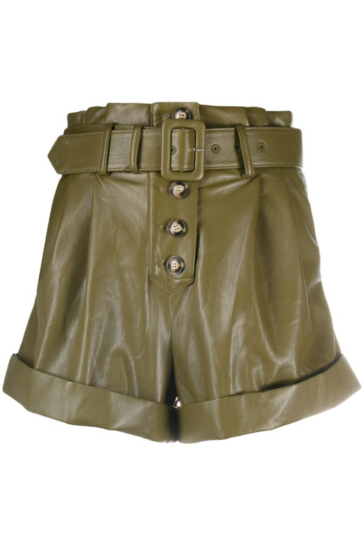 Colton Leather Shorts - Khaki