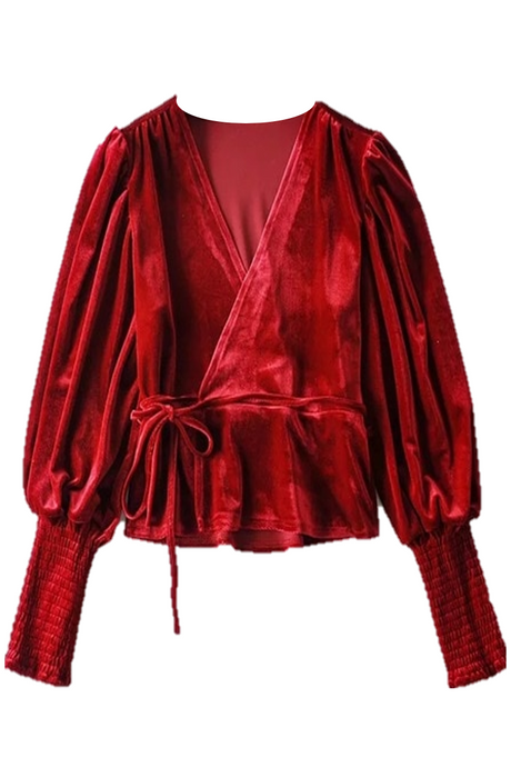 Cindy Velvet Wrap - Red
