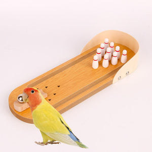 Bird Training Toys Mini Desktop Wooden Bowling Parrot Toys Education Play Toys