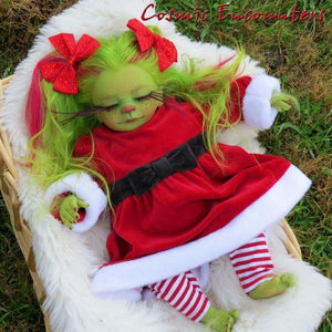 Reborn Baby Grinch Doll Green Hair Cartoon Monster Doll for Halloween & Christmas