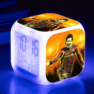 Messi Neymar Cristiano Ronaldo Football Star LED Colorful Alarm Clock