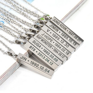 BTS Stainless Steel Vertical Necklace Square Necklace