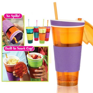 2in1 Snack Drink With Lid Straw Kids Snack Bottle