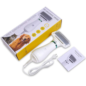 Pet Hair Dryer – Portable and Quiet 2 in 1 Pet Grooming Hair Dryer Blower with Slicker Brush