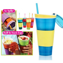 Load image into Gallery viewer, 2in1 Snack Drink With Lid Straw Kids Snack Bottle