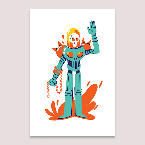 Mini Print (Screenprint): Cosmic Ghost Rider