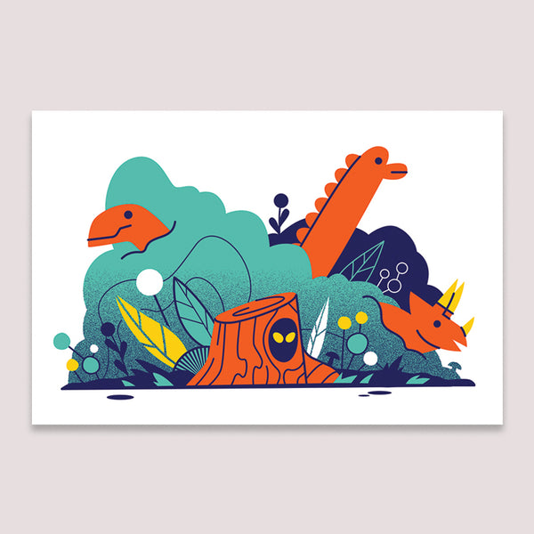 Mini Print (Screenprint): Dinosaur Log
