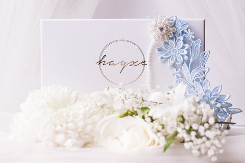 Image shows our blue wedding garter. something blue for wedding day.