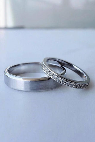Image shows his and hers matching wedding bands