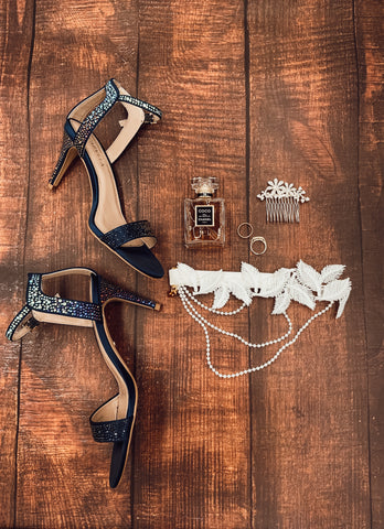 Bridal flat lay with wedding shoes