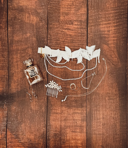 bridal flat lays with garter