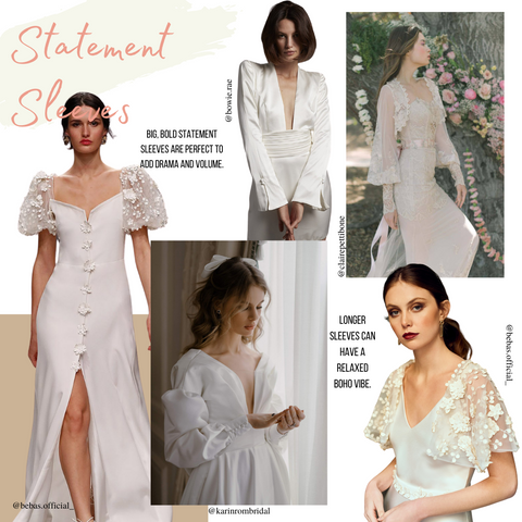Image show wedding trend for 2022 of statement sleeves on bridal dresses