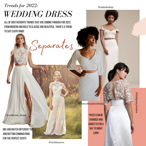 image shows wedding trend of wearing separates as a bride to be in 2022