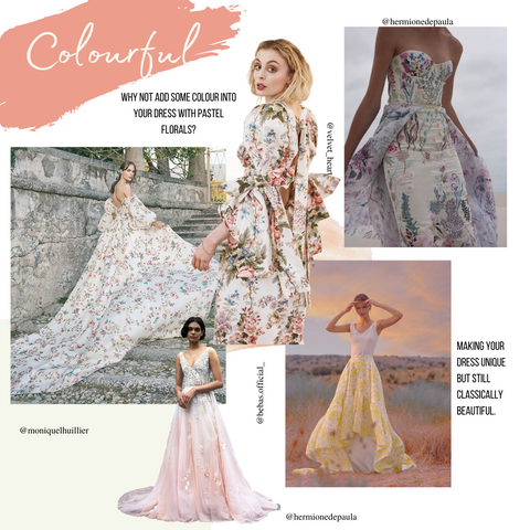 image shows colourful wedding dress as part of a trend forecast for weddings 2022