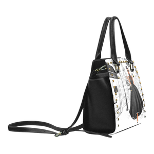 Lady in Paris (Black) Rivet Shoulder Handbag