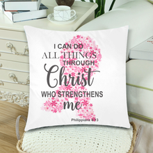 Load image into Gallery viewer, I Can Do All Things Through Christ Breast Cancer Decorative Throw Pillow Cases