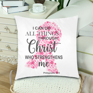 I Can Do All Things Through Christ Breast Cancer Decorative Throw Pillow Cases