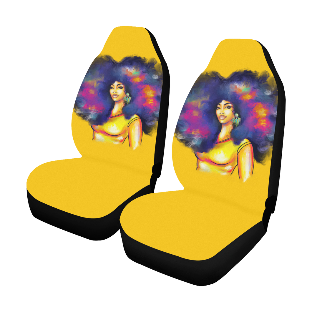Yellow Afro Lady Car Seat Covers