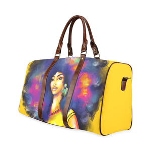 Yellow Afro Lady Weekender Travel Bag