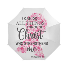 Load image into Gallery viewer, I Can Do All Things Through Christ Breast Cancer Umbrella