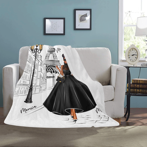 Lady in Paris (Black) Fleece Throw Blanket