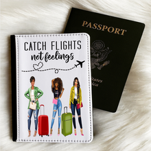 Load image into Gallery viewer, 3 Ladies Catch Flights Not Feelings Passport Cover and Luggage Tag