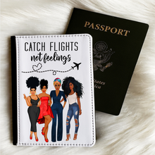 Load image into Gallery viewer, Flossy Posse Catch Flights Not Feelings Passport Cover and Luggage Tag