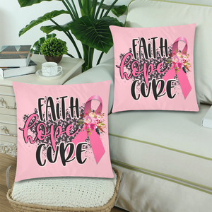Faith Hope Cure Decorative Throw Pillow Cases