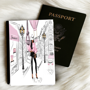 Lady in Paris (Pink) Passport Cover and Luggage Tag