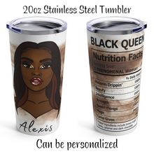 Load image into Gallery viewer, Brown Sugar - Black Nutrition Facts 20oz Stainless Steel Travel Tumbler