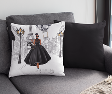 Load image into Gallery viewer, Lady in Paris (Black) Square Throw Pillow